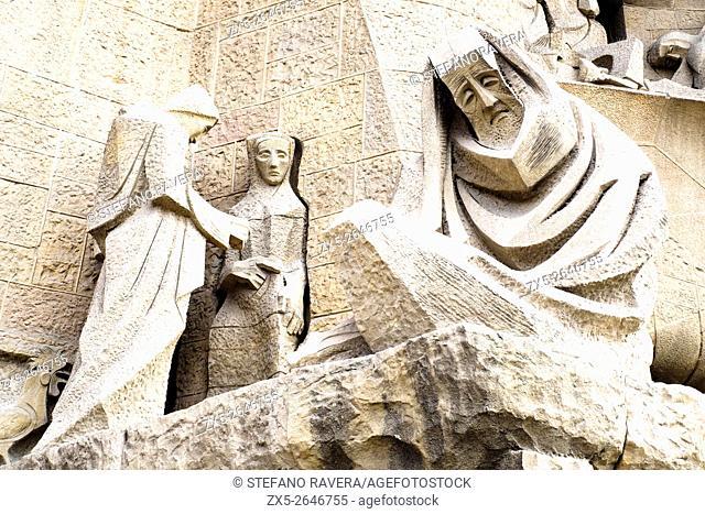 Sculptures by Josep Maria Subirachs at the Passion facade of the Basílica i Temple Expiatori de la Sagrada Família designed by Spanish architect Antoni Gaudí -...