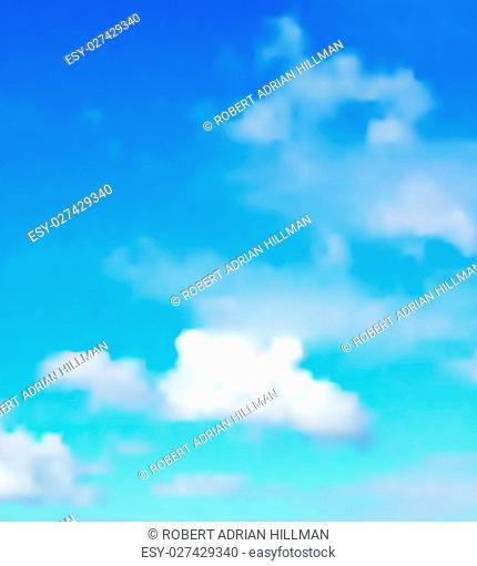 Editable vector illustration of a single cloud in a blue sky made with a gradient mesh
