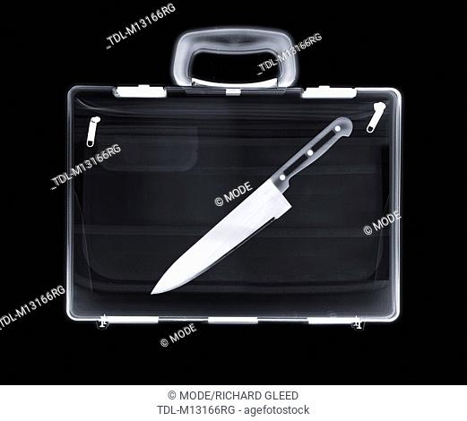 X-ray of a bag containing a knife