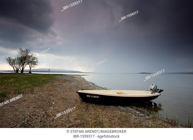 Fishing boat on Lake Constance in the and dismal weather, Reichenau island, Black Forest, Baden-Wuerttemberg, Germany, Europe