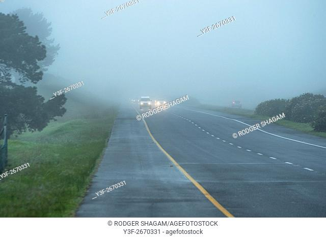Mist covers the road. M3 Highway, Cape Town, South Africa