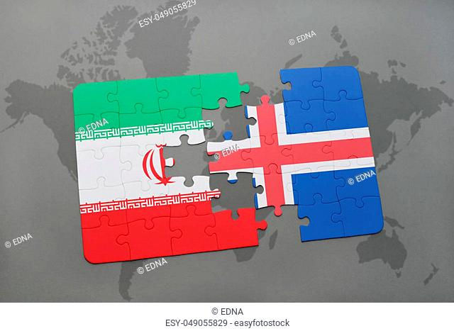 puzzle with the national flag of iran and iceland on a world map background. 3D illustration