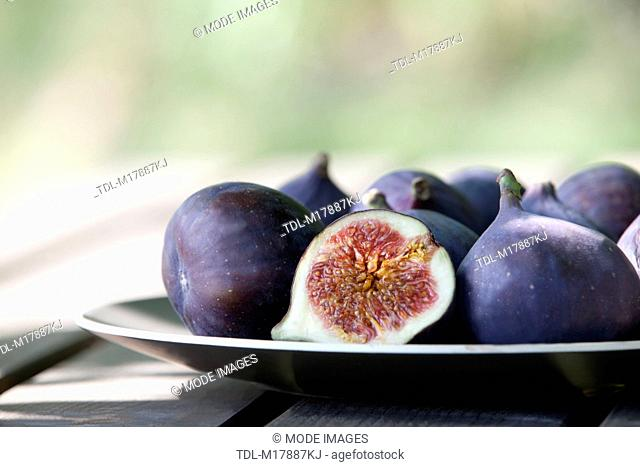 Figs on a plate, cropped
