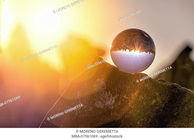 Crystal ball, cairns on the Peterskopfl, Ginzling, Zillertal, Tyrol, Austria