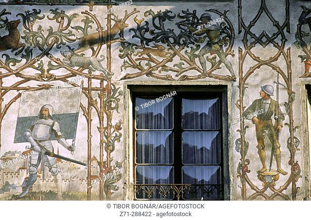 Painted house detail. Luzern. Switzerland