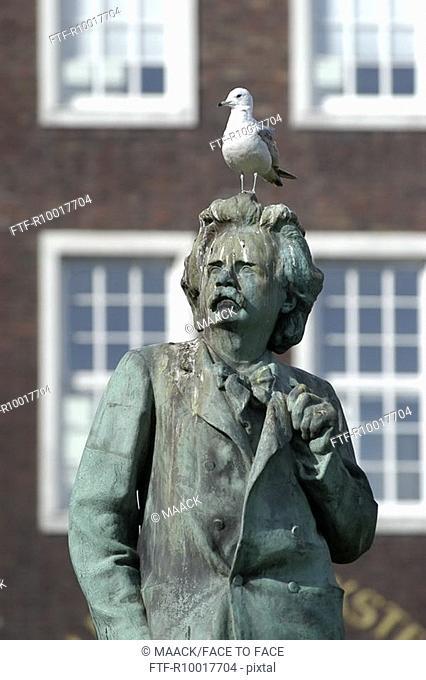 Norway, Bergen, Statue of Grieg