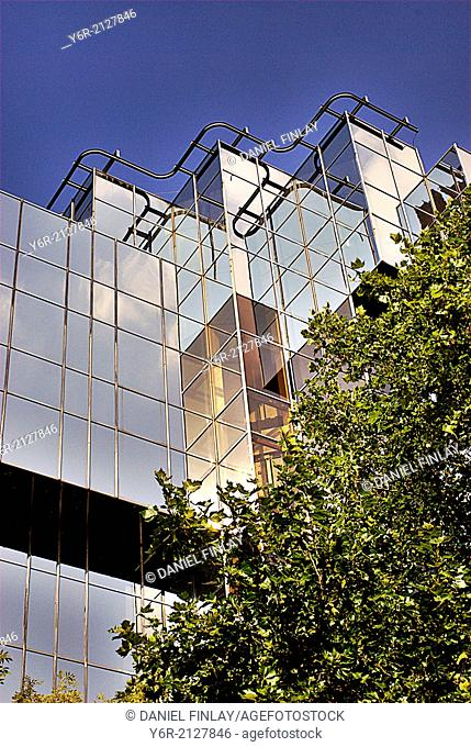 Modern office building on the Marylebone Road in central London, England, on a sunny day