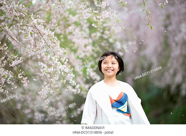 Girl with Cherry blossom