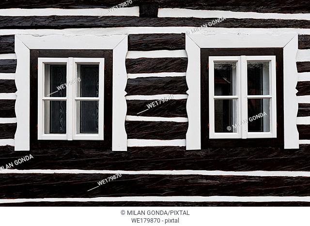 Windows of a traditional wooden cottage in Bela-Dulice village, northern Slovakia