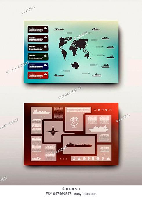 Map geographic business infographics leaflet cover presentation abstract, technology annual report brochure flyer design template vector