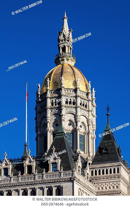 USA, Connecticut, Hartford, Connecticut State Capitol, exterior, autumn