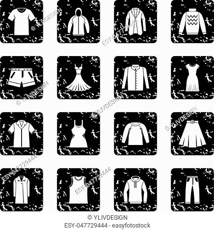 Different clothes icons set in grunge style isolated on white background vector illustration