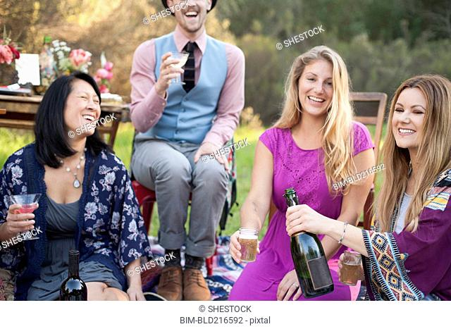 Friends drinking champagne at picnic in park