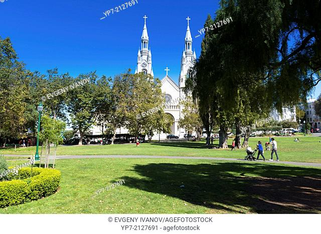 White cathedral of Saints Peter and Paul and Washington Sqaure, San Francisco, California