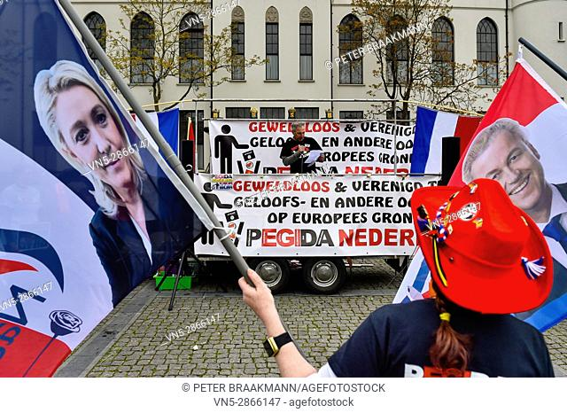Tilburg - Netherlands - 07-05-2017 - The anti-Islamic movement Pegida met in Tilburg on Sunday afternoon to argue against the construction of a new mosque for...