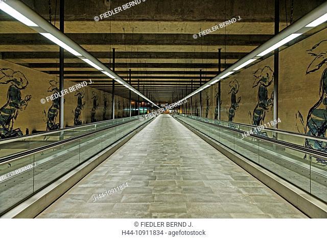 Portugal, Europe, Lisbon, Lisboa, subway station, Chiado, Inside, man conveyor, wall pictures, railroad, way