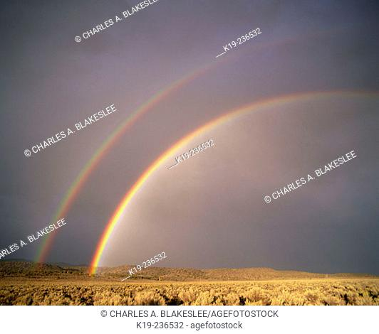 Double rainbow over Eastern Oregon. Oregon. USA