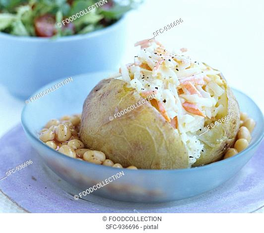 Baked potato with coleslaw and baked beans