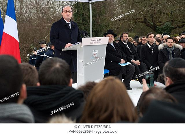 French President François Hollande speaks during a commemoration at a Jewish cemetery in Sarre-Union, France, 17 February 2015