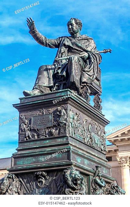 Munich, Statue of King Max Joseph in front of Bavarian State Opera, Germany