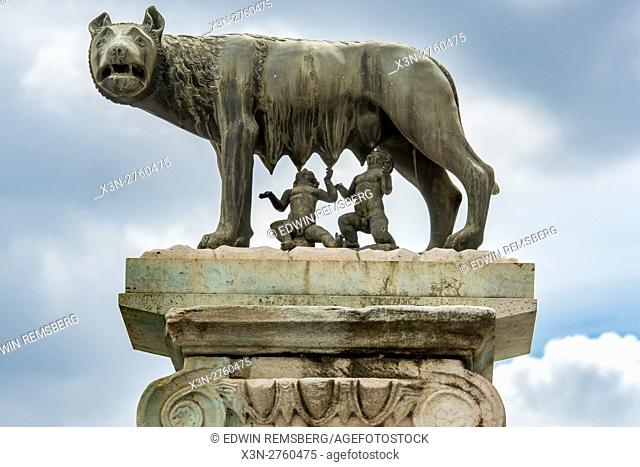 Rome, Italy- Close up of the famous sculpture Lupa Capitolina, otherwise known as the Capitoline Wolf and the Twins found in Rome