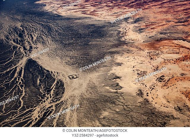 Cooper river basin, aerial view, northern NSW / Queensland border en route Birdsville, Australia