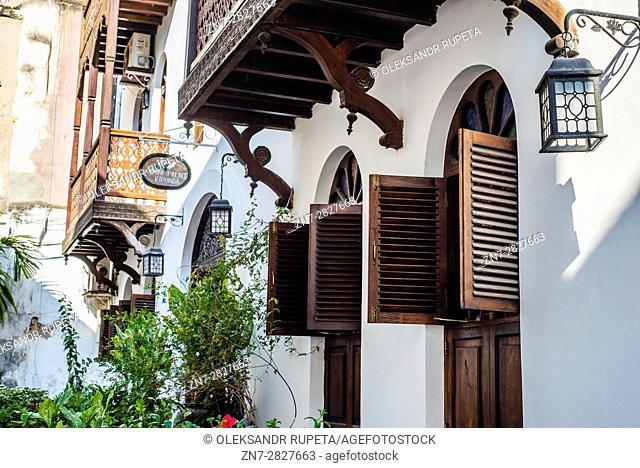 Hotel on a street of Stone Town, Zanzibar, Tanzania