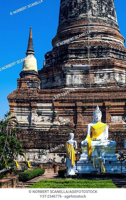 Asia. Thailand, Phra Nakhon Si Ayutthaya, old capital of Siam. Ayutthaya archaeological Park, classified UNESCO World Heritage. Wat Yai Chai Mongkhon