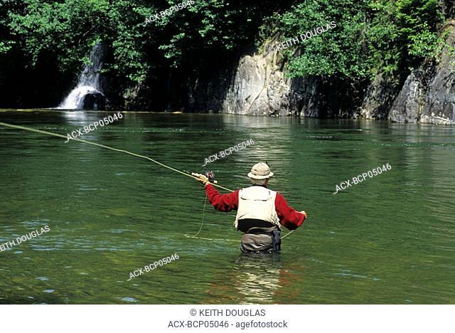 Flyfishing for summer run steelhead, Central Coast, British Columbia, Canada