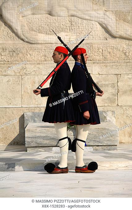 Guards known as evzones marching in front of the tomb of the unknow soldier, Athens, Greece