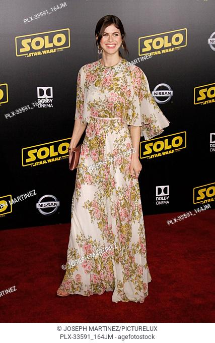 """Alexandra Daddario at the Premiere of Lucasfilm's """"""""Solo: A Star Wars Story"""""""" held in Hollywood, CA, May 10, 2018. Photo by Joseph Martinez / PictureLux"""