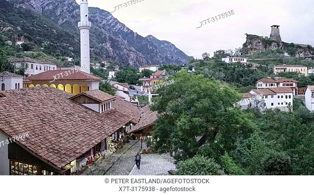 Looking down on the bazaar and Mosque in Kruja, with the castle in the background, central Albania