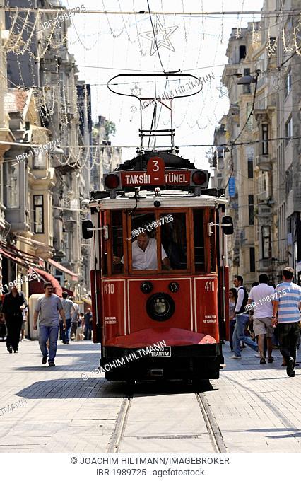 Historic tram on Istiklal Caddesi, Istiklal Avenue, Beyoglu district, Istanbul, Turkey