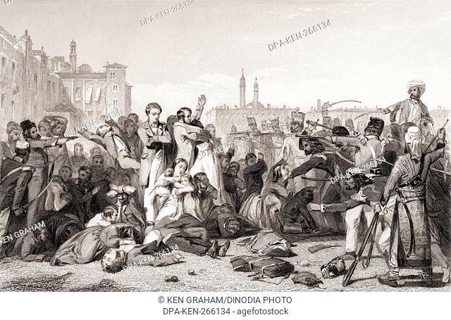 Massacre at Cawnpore, Kanpur, Uttar Pradesh, India, Asia, 1857