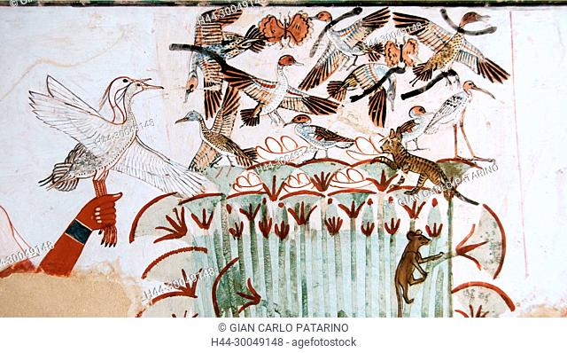 Luxor, Egypt, tomb of Menna or Menena (TT69) in the Nobles Tombs (Sheikh Abd El-Qurna necropolis): beautiful scenes of hunting on the Nile
