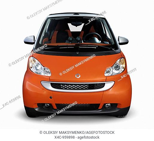 2008 Smart Fortwo fuel efficient mini city car  Front view  Isolated with clipping path on white background