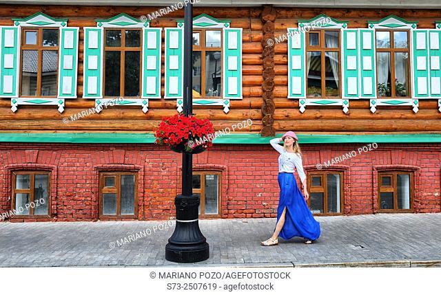 Woman walking in a Kazan street, Tatarstan, Russia