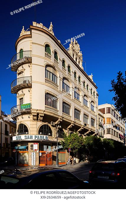 Angel Sanz building, projected by Juan Talavera Herediia in regionalist style, San Pablo street, Seville, Spain