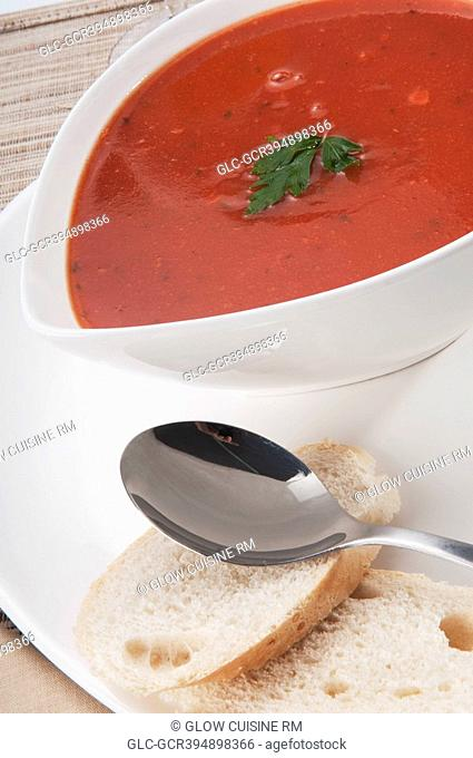High angle view of tomato soup and bread