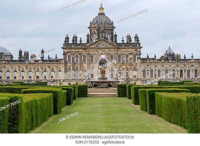 Castle Howard with Atlas Fountain and Hedges in Foreground, Yorkshire, UK