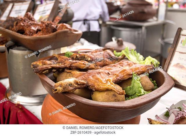 "Peruvian food dishes: """"Cuy"""". Peruvian seasoning and flavor, food fair. La Limeñita boulevard, Camana Street, historical Center; Lima district, Lima, Peru"