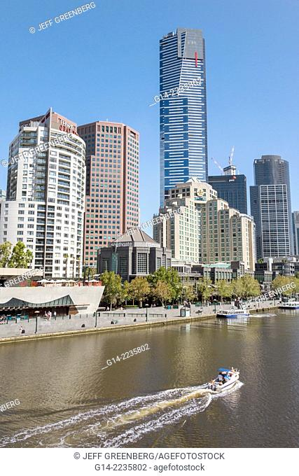 Australia, Victoria, Melbourne, Southbank, Yarra River, Eureka Tower, tallest building, city skyline, skyscrapers, boat