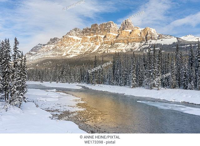 Castle Mountain at Castle Junction. Along Hwy 1 and 1a. Banff National Park, Alberta, Canada