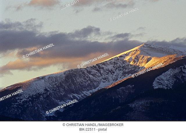 Summit of mountain Schneeberg at sunset in Lower Austria Austria