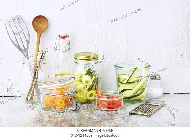 Various veggie noodles in preserving jars