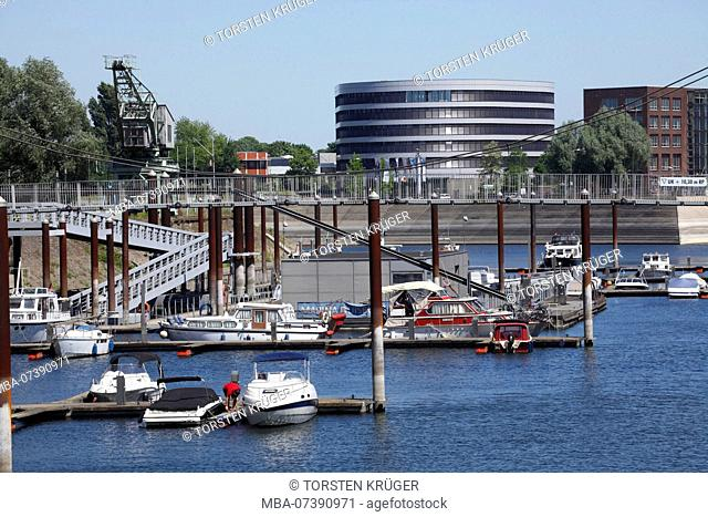 Marina and office building, Innenharbour, Duisburg, Ruhr area, North Rhine-Westphalia, Germany, Europe