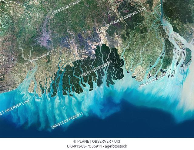 Satellite view of the Ganges River Delta, Bangladesh, India. Also known as the Brahmaputra Delta, it empties into the Bay of Bengal