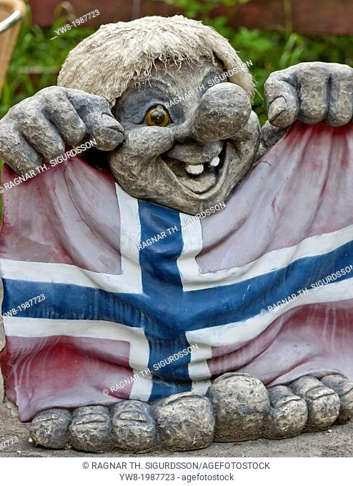 Norwegian troll with flag, Steinsdalsfossen, Norway