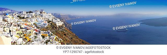 Panoramic photo of Thira, Santorini, Greece