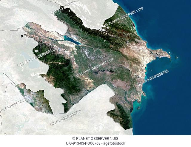 Satellite view of Azerbaijan (with country boundaries and mask). This image was compiled from data acquired by Landsat 8 satellite in 2014